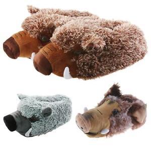 Tier Hausschuhe Wildschwein Sau Plüsch Schlappen Pantoffel Puschen Erwachsene