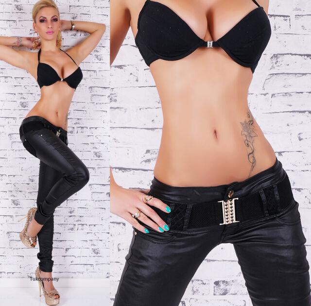 Women's leather look jeans black wet look skinny jeans Inc Belt  HOT Size 6-14