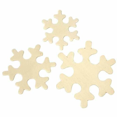 60 x Snowflake Christmas Decoration Toppers Wooden Craft Decorate 4.5-6cm
