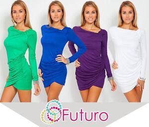 Trendy-Womens-Mini-Dress-Long-Sleeve-Asymmetric-Neck-Tunic-Sizes-8-18-6053