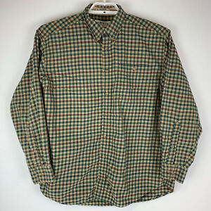 Orvis-Mens-Large-Shirt-Red-Tan-Green-Plaid-Cotton-Long-Sleeve-Button-Front