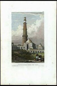 Kutub-Minar-Cootus-ruins-Delhi-India-c-1850-print-view-beautiful-hand-color