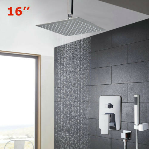 Salle de Bain 16  Support Plafond Pluie Système de douche avec tête carrée main Spary Set