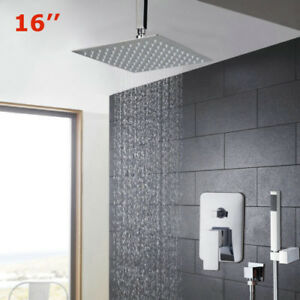 Ordinaire Image Is Loading 16Inch Ceiling Mounted Rainfall Shower System Chrome Shower