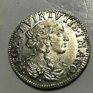 1666 FRANCE SILVER 1/12 ECU DOMBES ANNE-MARIE LOUISE RARE HIGH GRADE COIN