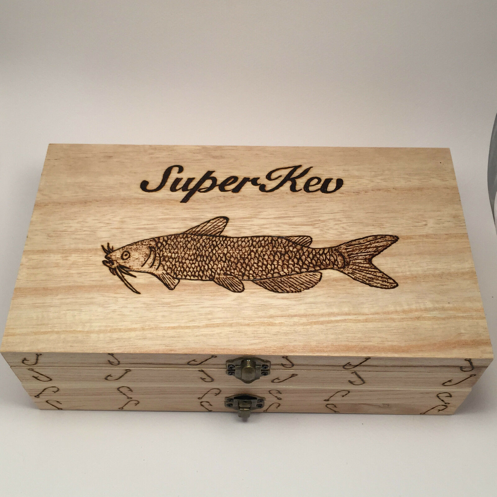 Double Fishing Float Box Case Any Name Any Fish  Personalised With 10 Floats
