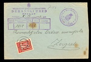 CROATIA (NDH) WWII - OFFICIAL LETTER SENT FROM STOLAC TO ZAGREB 06. 08. 1943.