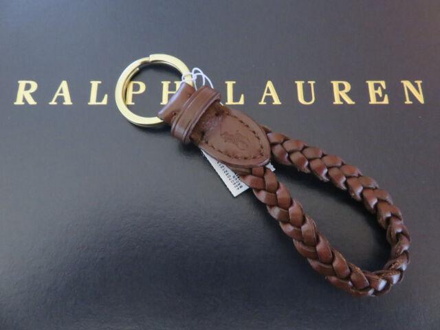 Key Fob Keychain >> Polo Ralph Lauren Brown Leather Braided Fob Key Chain Keychain Keyring