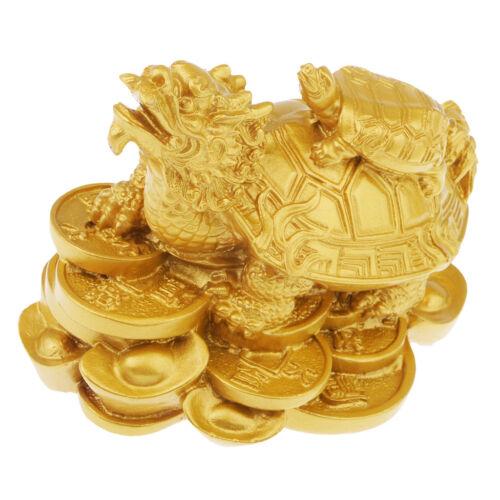 Wealth Dragon Tortoise Statue Feng Shui Figurine Home Office Car Decor