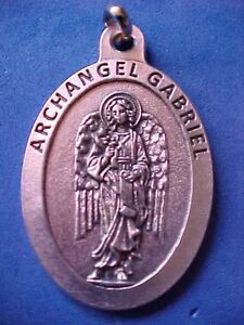 ARCHANGEL-St-GABRIEL-Saint-Medal-Large-1-3-4-inches-Long-Protection-Angel-Silver