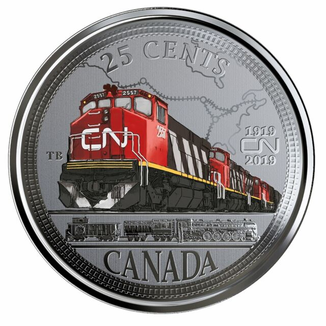 100th Anniversary of CN - 2019 Canada 25 cent Coloured Coin