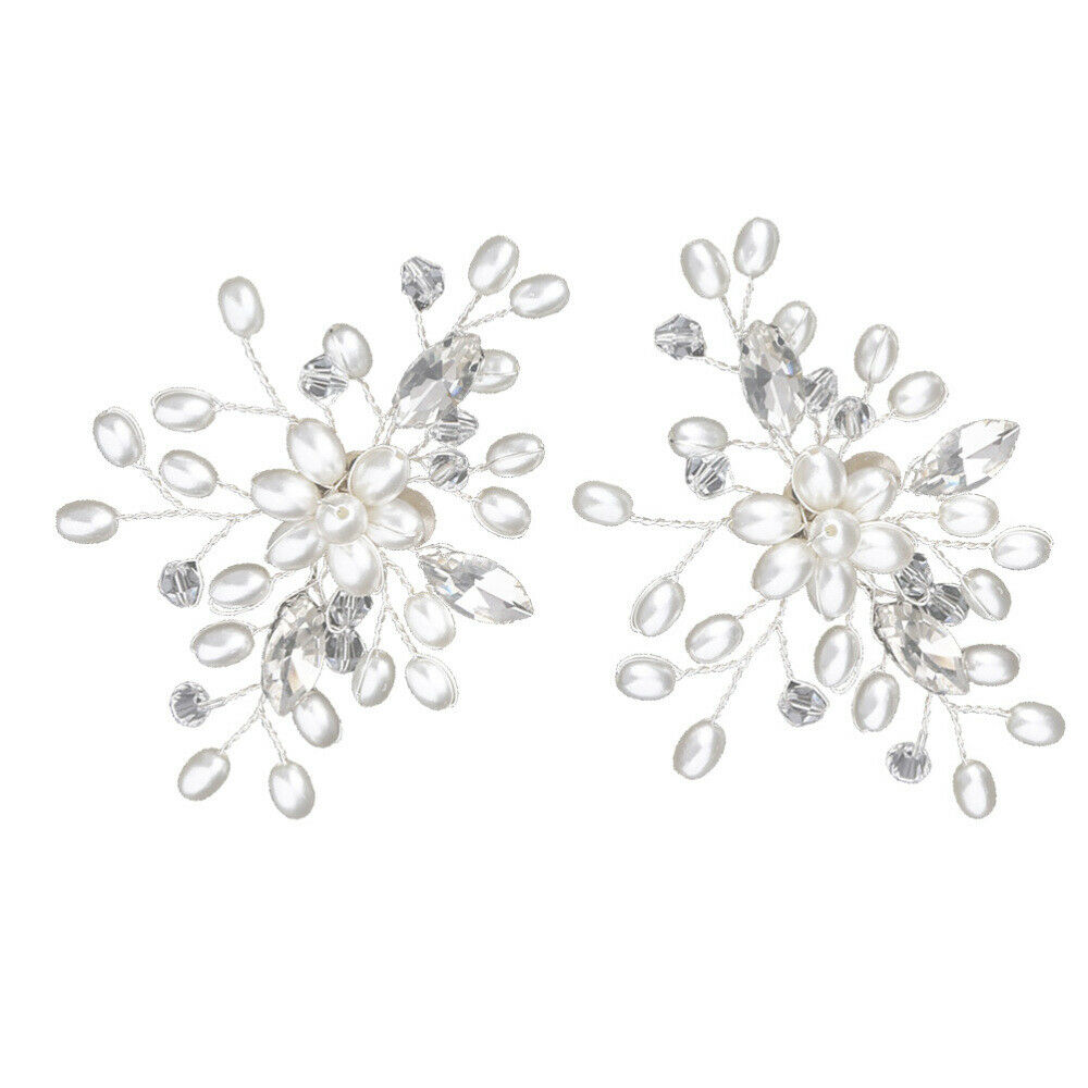 1 Pair Shoe Buckle Rhinestones Crystal Pearl Shoe Clips for Women Wedding Bride