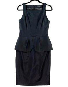 CUE Women's Size 10 Black Sleeveless Square Neck Midi Peplum Work Business Dress