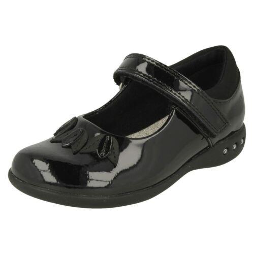 Prime Step de Girls elegante de zapatos Clarks escuela negro charol ZHwFqg