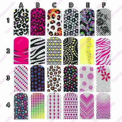 3D Acrylic Nail Wraps - Full Rhinestones Crystals Foils Art Decals Stickers -New