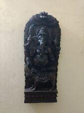 Wooden Ganesh Ganesha sculpture Handcarved Statue Panel Idol w Rat Murti UNIQUE