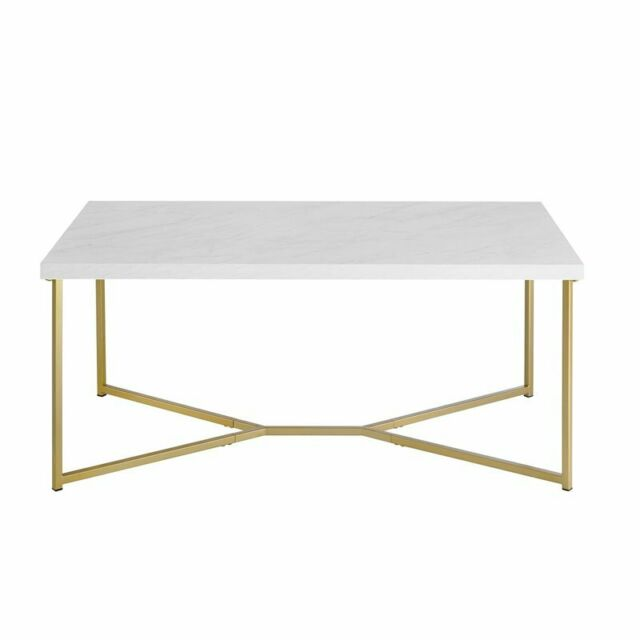 Pemberly Row Round Marble Top Coffe Table In Gold For Sale Online Ebay