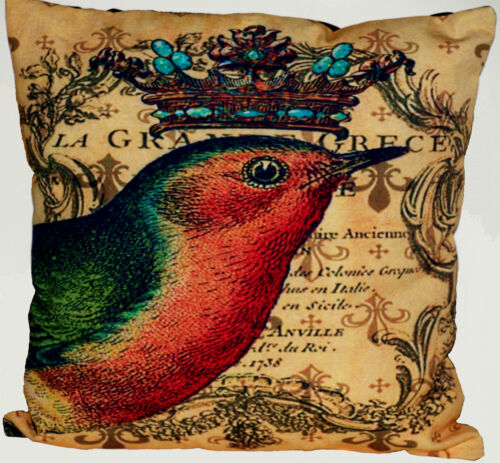 Funda de almohada motivo funda de almohada cojín algodón pájaro con corona de 40 x 40 cm