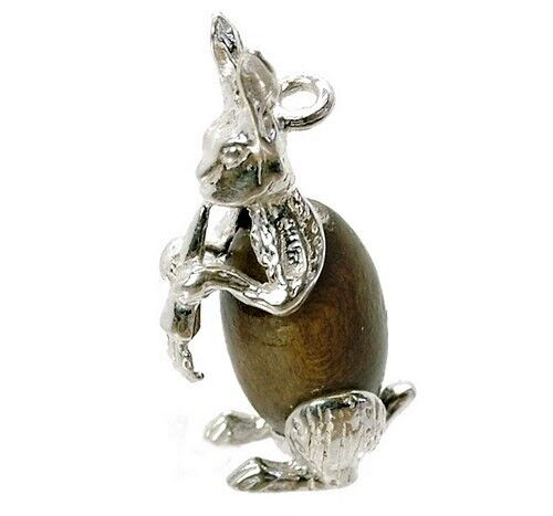 STERLING SILVER LUCKY TOUCH WUD WOOD RABBIT CHARM
