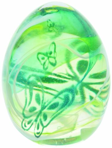 "Caithness Glass paperweight /""Flutterbye Green/"" abstract butterfly"