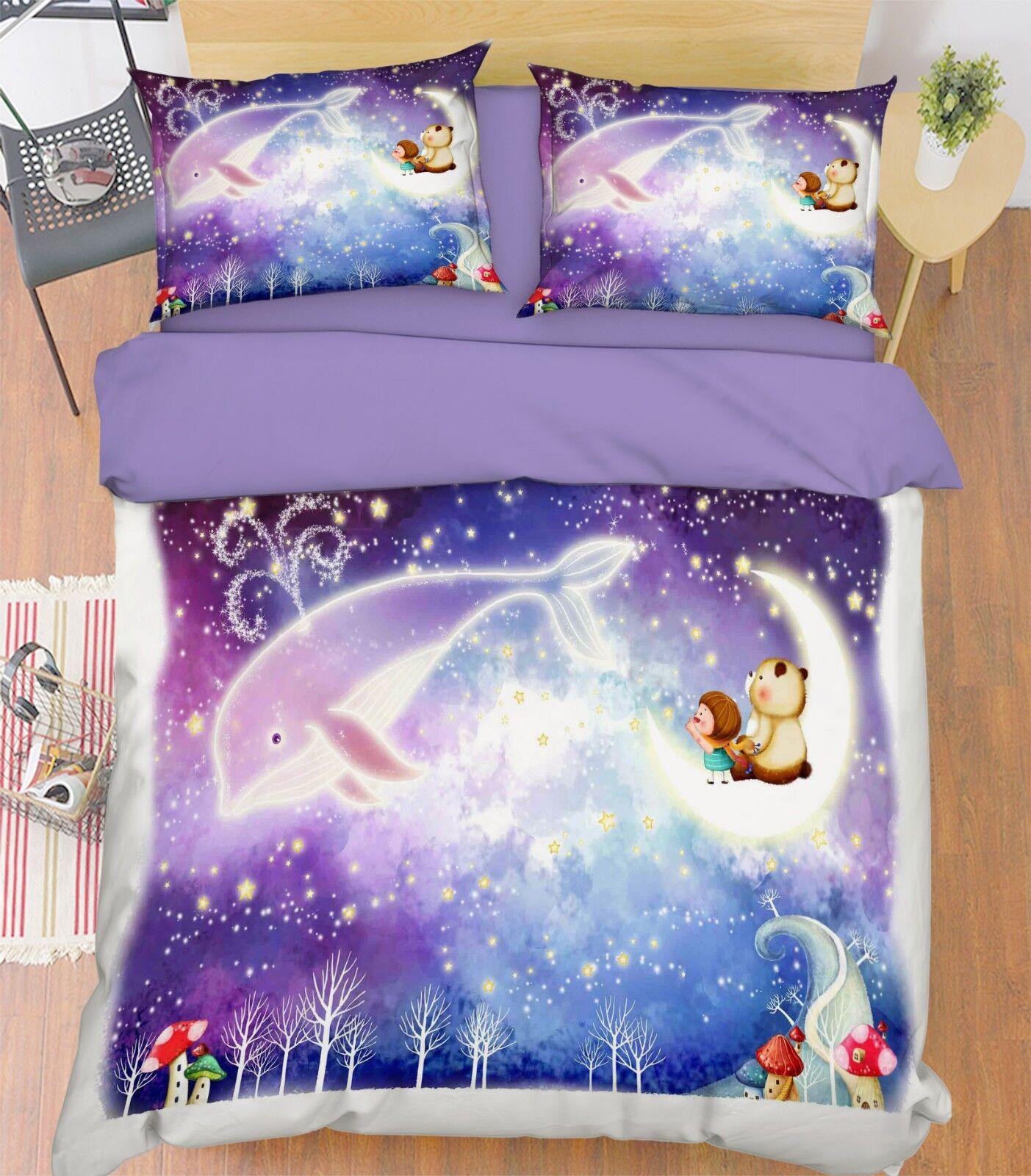 3D Whale Star Kid 68 Bed Pillowcases Quilt Duvet Cover Set Single King UK Summer
