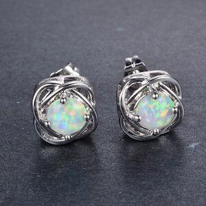 Beautiful 925 Silver Stud Earrings Round Cut White