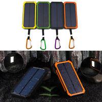 100000mAh Wasserdicht Solar Powerbank Dual Mobile Akku LED Taschenlampe Ladegrät