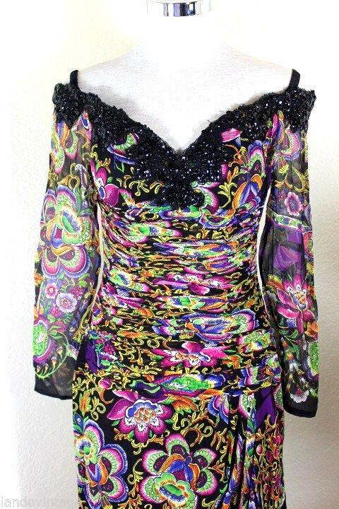 Vintage LIAN CARLO Beaded Long Evening Gown Long sleeves Fancy Dress 4 5 6