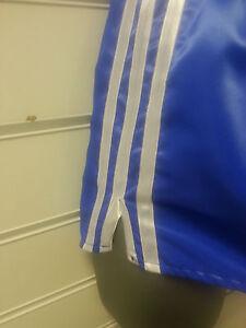 Retro-Nylon-Satin-Football-Short-S-to-4XL-Royal-amp-White