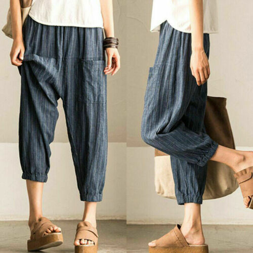 Womens Stretch Cotton Blend Pants High Waist Loose Baggy Harem Trousers Casual