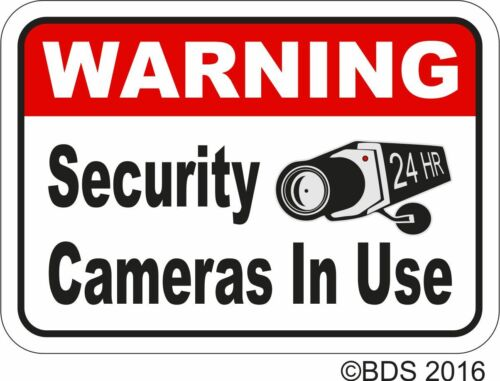 WARNING SECURITY CAMERAS IN USE VINYL STICKER DECAL