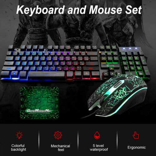 LEDgamingkeyboard mice Set Computer Accessories Wired DPI RGB Backlight IPX5