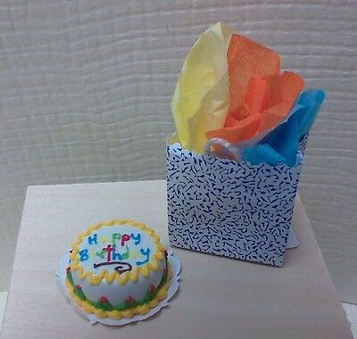 Dollhouse Miniature Happy Birthday Cake by Bright deLights /& gift bag 1:12