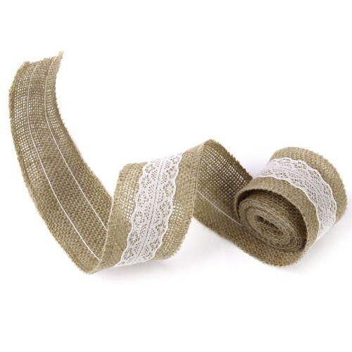 Rouleau de 2 M Mariage Home À faire soi-même Craft toile de jute ruban dentelle blanche décoré largeur 5 cm