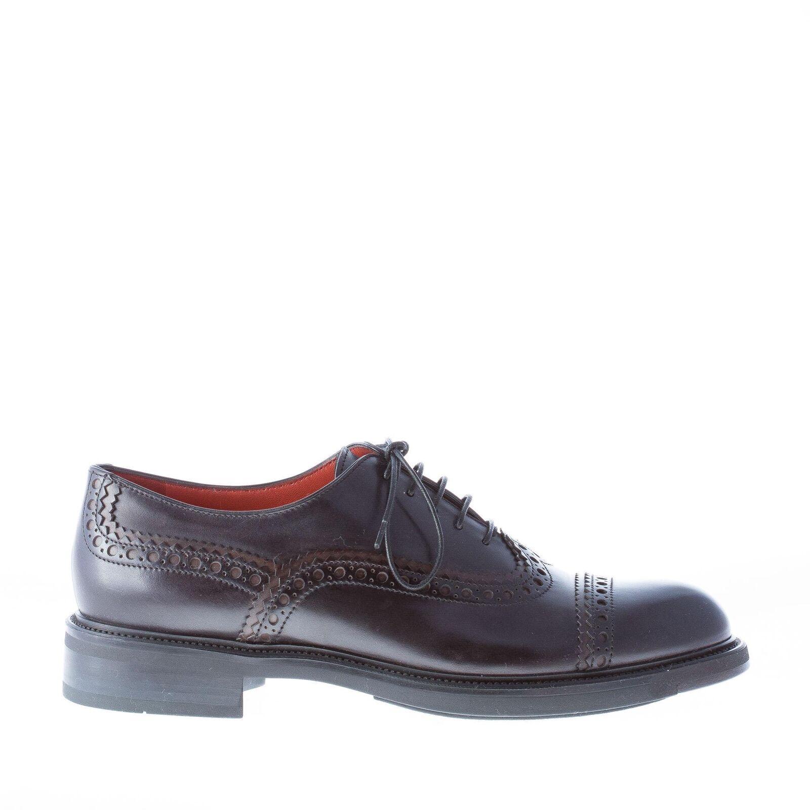 SANTONI scarpe donna spazzolato shoes francesina in vitello spazzolato donna nero coda di rondine 7e4e6f