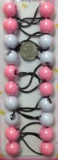 Pink White Elastic Ponytail Holder Jumbo Bead Girl Hair Scrunchie Knocker Ball
