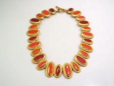 """Anne Klein Cleopatra Gold Tone w/ Red & Orange Enamel Collar Necklace, 16"""""""