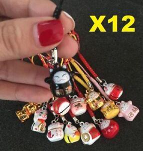 X12 Random Fortune Lucky Beckoning Cat Maneki Neko Keyring Keychain Key Rings \
