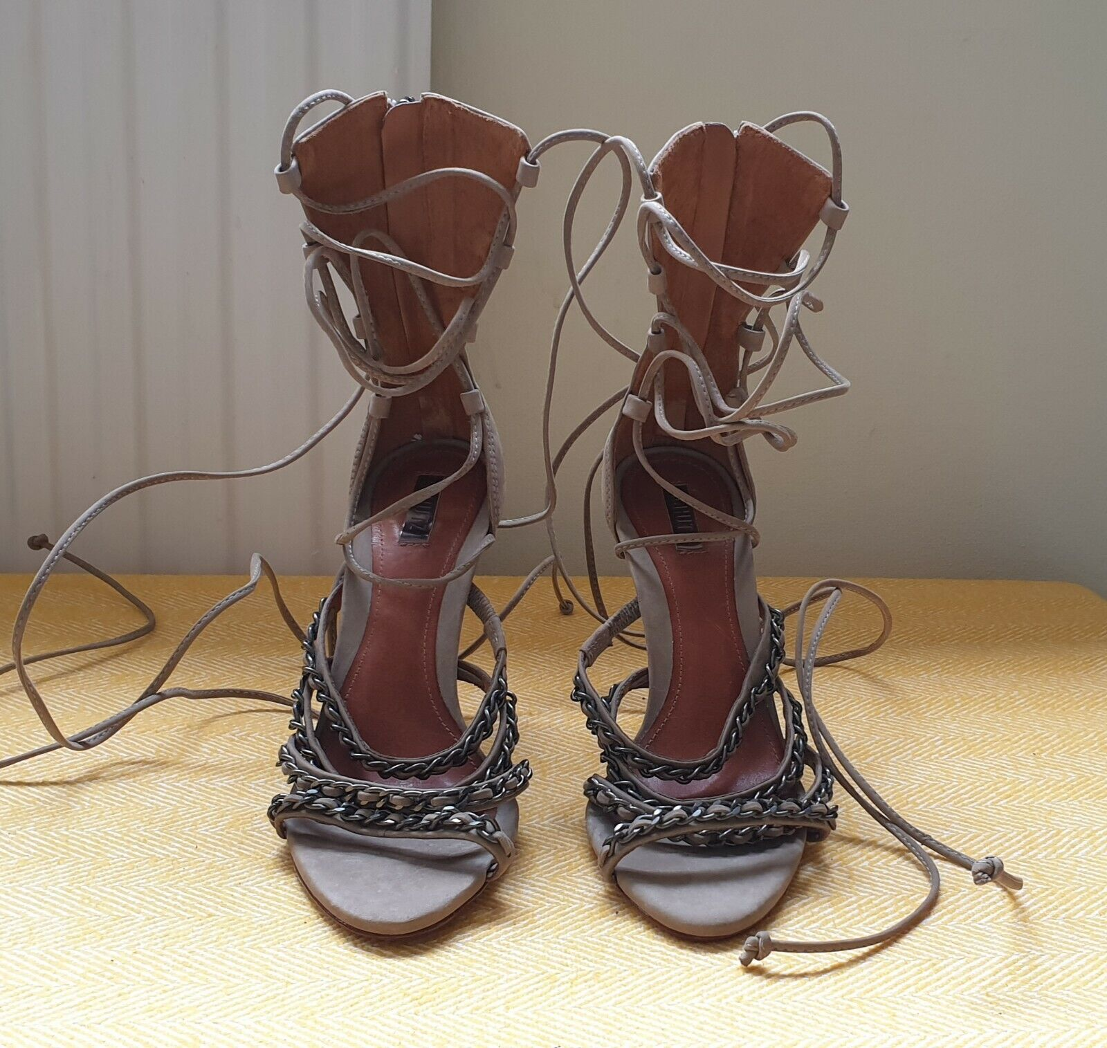 SCHUTZ lace Up Chain Embellished Suede Sandals SIZE 3UK