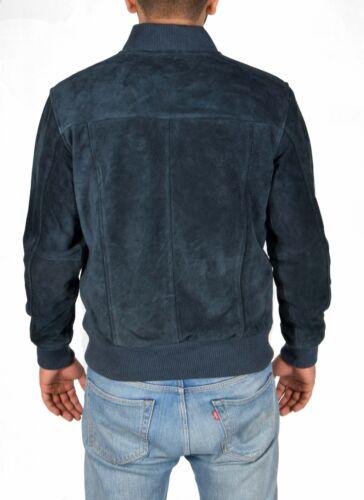 Mens Real NAVY Suede Bomber Jacket Leather Sports Varsity Baseball Casual Coat