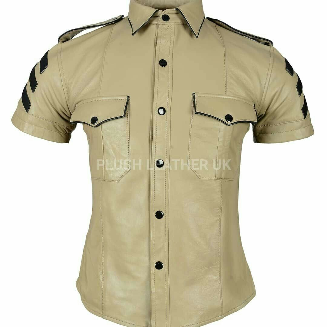 Mens Very Hot Real Sheep Leather in Beige Colour Police Uniform Shirt bluef Gay