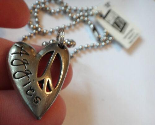 "18/"" Silver Pewter Bead chain Texas A/&M University Aggies ATM 28x21mm heart Charm"