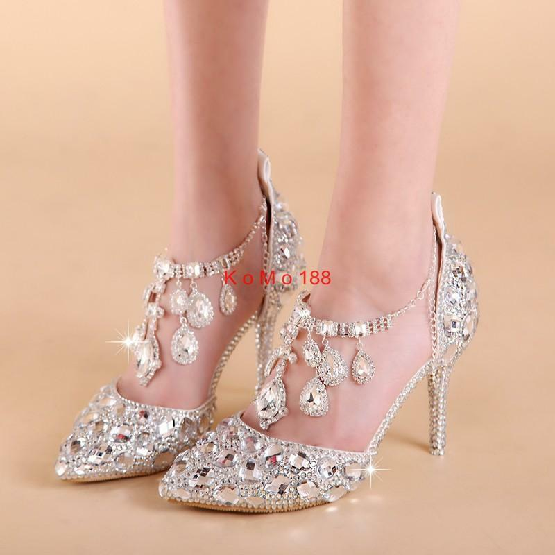 New Womens Rhinestone Bling Bridal stilettos Heel Casual princess Pumps Shoes #