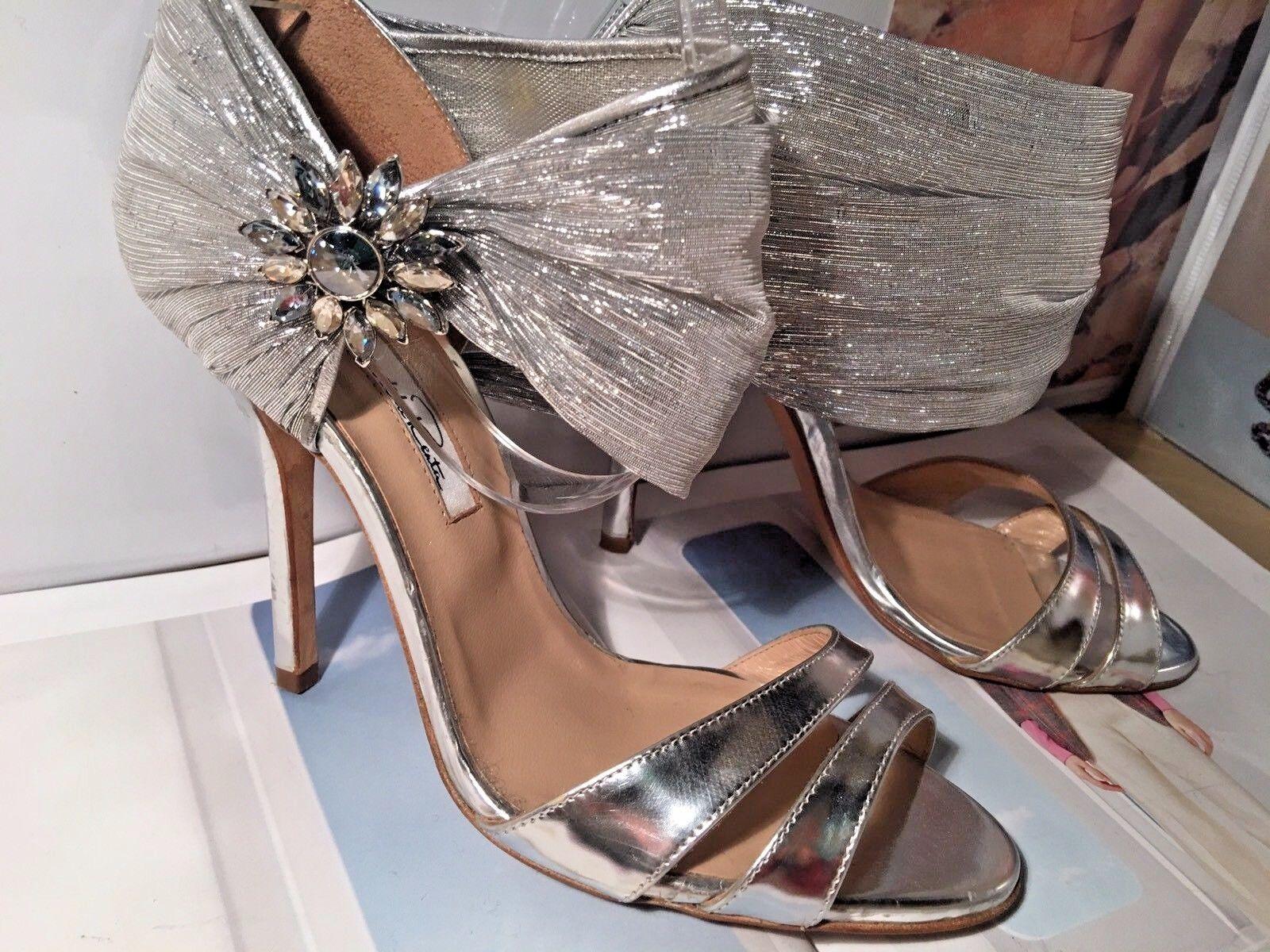 OSCAR DE LA RENTA Silver Metallic Open Toe Broach Broach Broach Wedding SZ 36 6 7d81f6
