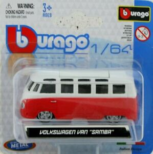 VW Volkswagen Bus / Van Samba - red / white - Bburago 1:64