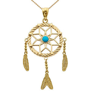 Solid 14k yellow gold turquoise stone flower dream catcher pendant image is loading solid 14k yellow gold turquoise stone flower dream audiocablefo