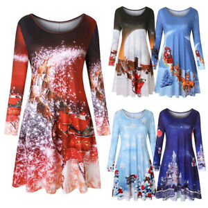 Women-Long-Sleeve-Vintage-Xmas-Christmas-Round-Neck-Party-Mini-Dresses-Xmas