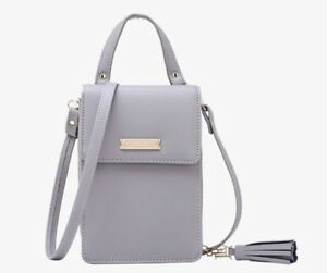 Women-Grey-Tassel-Handbag-Crossbody-Purse-Phone-Coins-mini-Bag-Grey