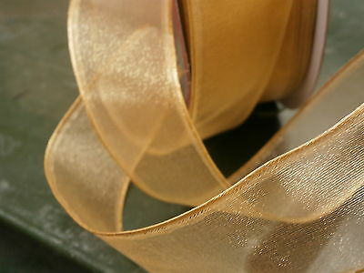CHRISTMAS WIRE EDGED RIBBON - GOLD