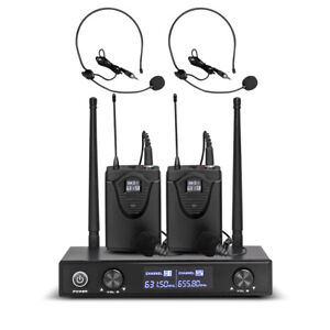 Pro-Audio-UHF-Wireless-Microphone-System-2-Channel-2-Lavaliers-2-Lapel-2-Headset